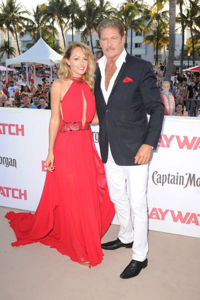 David Hasselhoff and Hayley Roberts on the Red carpet