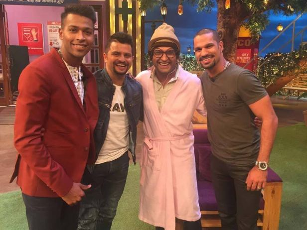 Suresh Raina Shikhar Dhawan and Hardik Pandya on The Kapil Sharma show