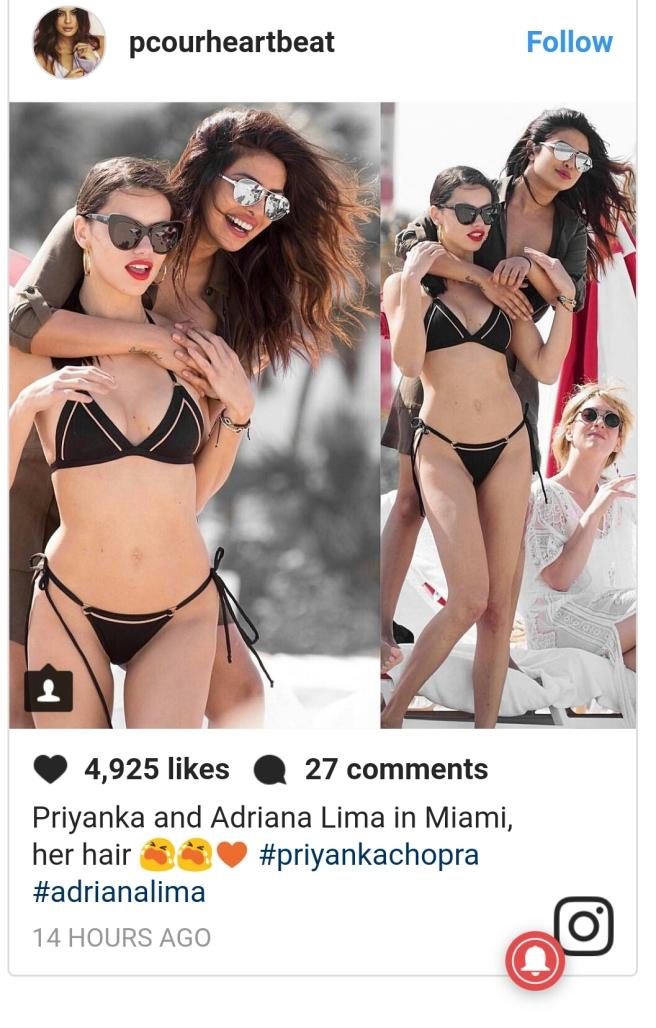 Priyanka Chopra is chilling out on Miami beach with Adriana Lima