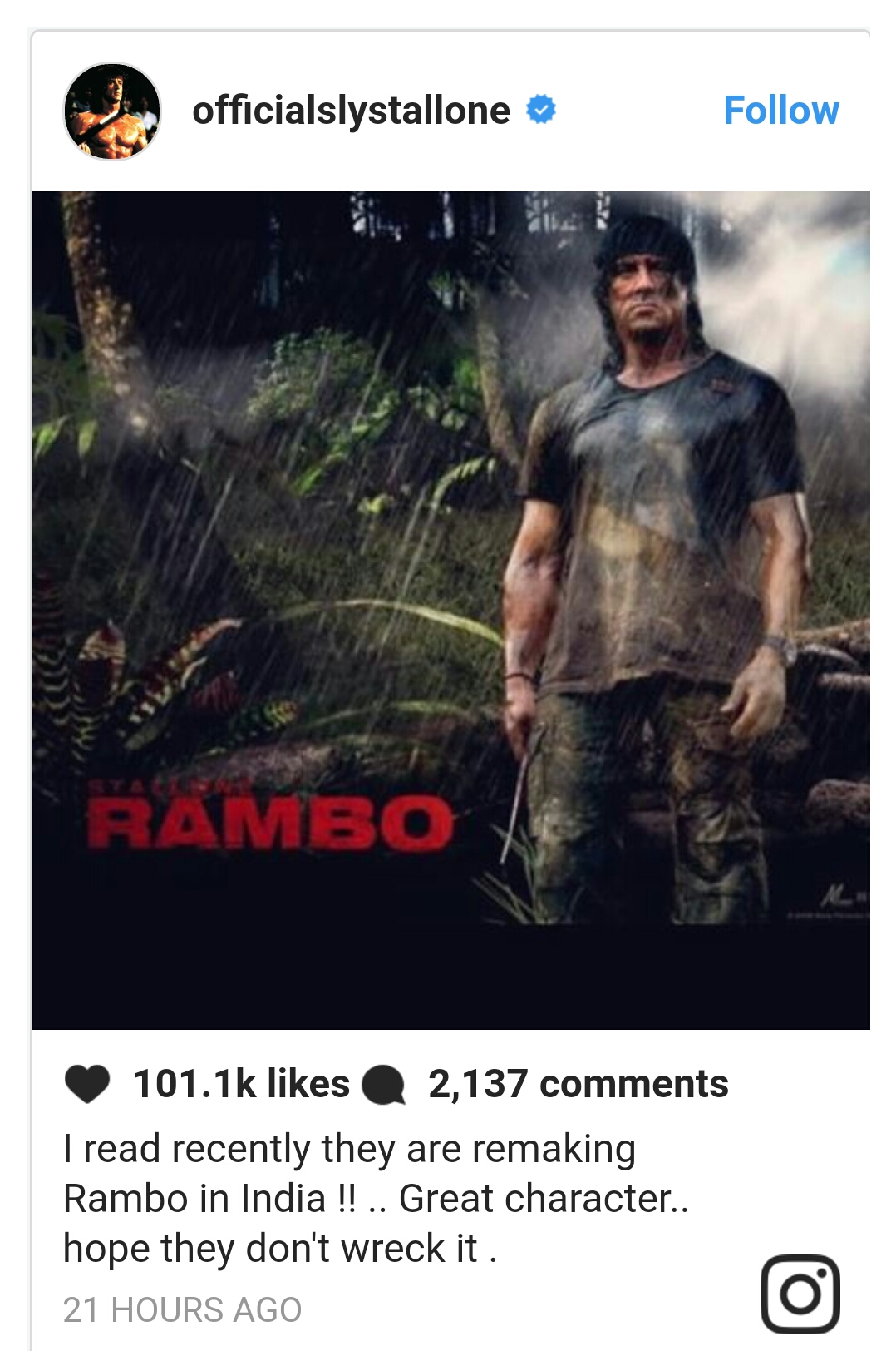Tiger Shroff is going to play the role of Sylvester​ Stallone's​ legendary character Rambo