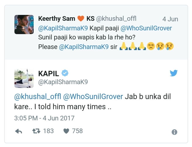 Kapil Sharma tweet to a fan asking to bring back Sunil Grover